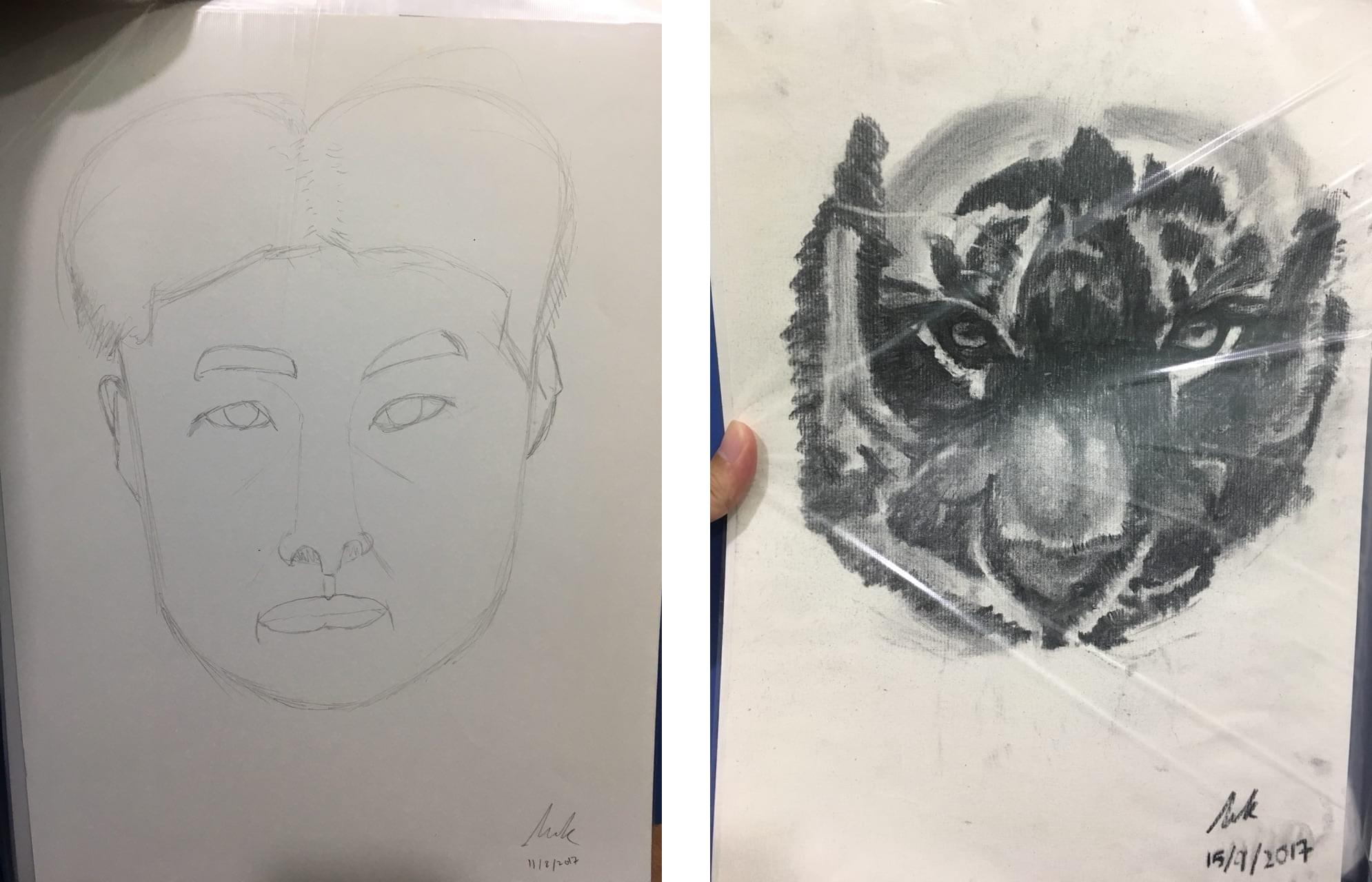 Left: Zell's drawing of his face (that doesn't look anything like a face). Right: Zell's drawing of a tiger.